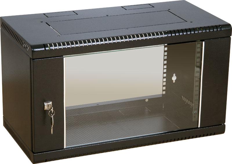 """Шкаф телекоммуникационный 19"""" настенный iCA Equipment WC-160-6U-600-BL (черный)"""